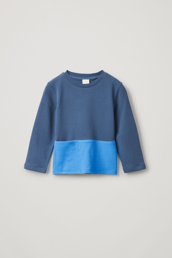 Cos Kids' Colour-block Jersey Top In Blue