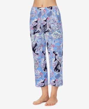 Ellen Tracy Knit Cropped Pajama Pant In Blue Paisley