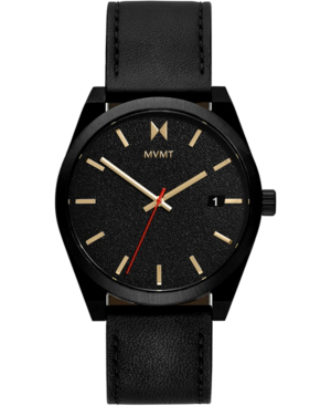 Mvmt Men's Caviar Black Leather Strap Watch 43mm