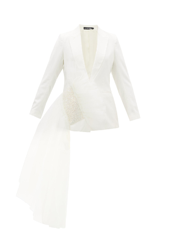Germanier Crystal-embellished Tulle & Upcycled-twill Blazer In White
