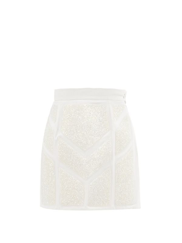 Germanier Crystal-embellished Upcycled Cotton-blend Skirt In White