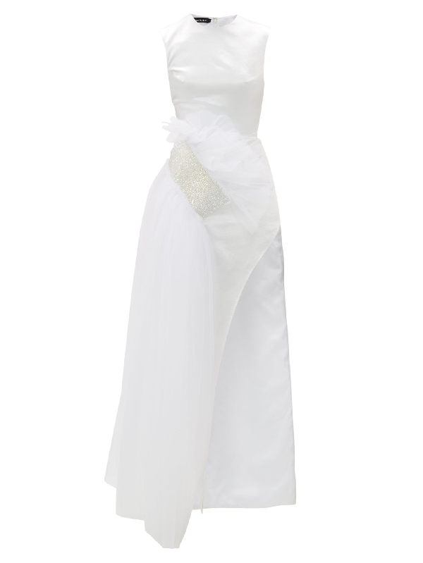 Germanier Crystal-embellished Tulle And Upcycled-satin Gown In White