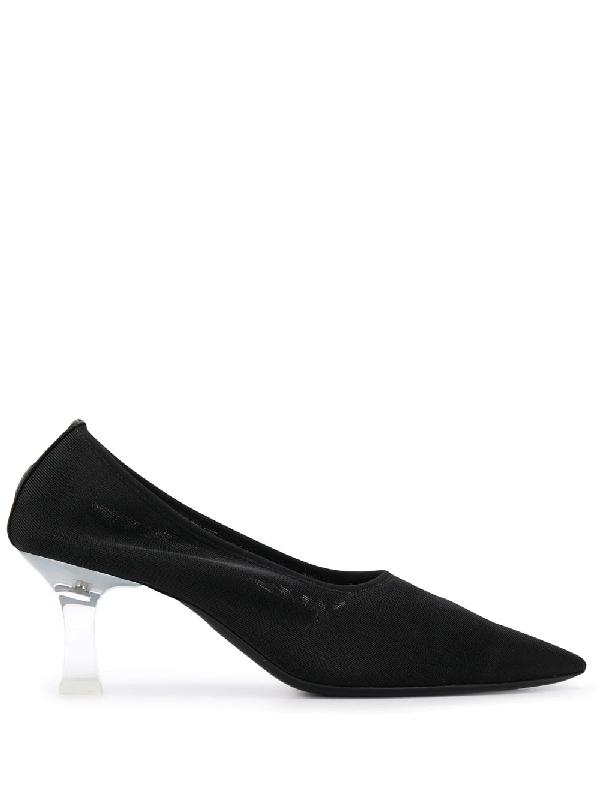 The Row Sock Acetate-heel Point-toe Mesh Pumps In Black