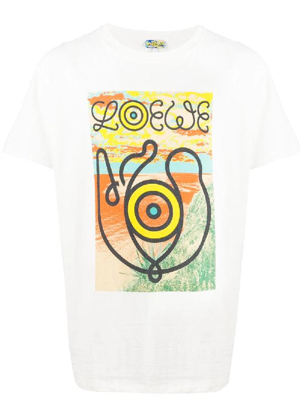 Loewe Landscape-print Slubbed Cotton-jersey T-shirt In White