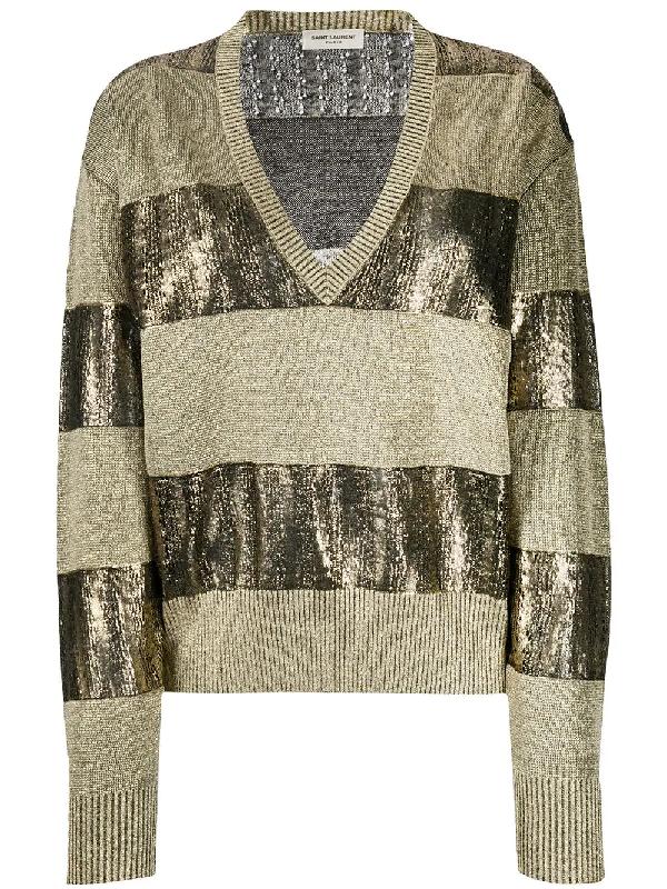 Saint Laurent Metallic Stripe Linen Blend Sweater In Gold