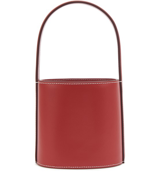 Staud Mini Bissett Leather Bucket Bag In Red