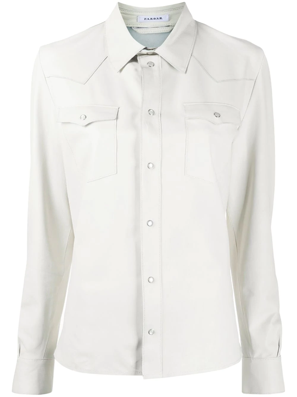 P.a.r.o.s.h. Leather Western Shirt In White