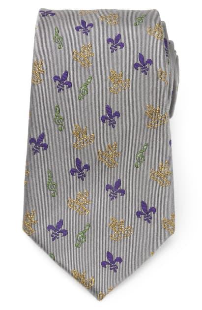 Cufflinks, Inc Mardi Gras Mask Silk Tie In Grey