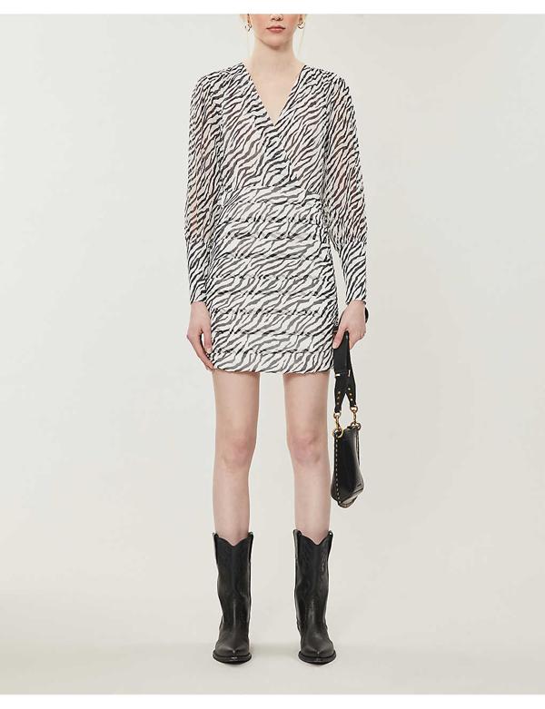 Maje Ribane Zebra Print Long Sleeve Minidress In Black / White