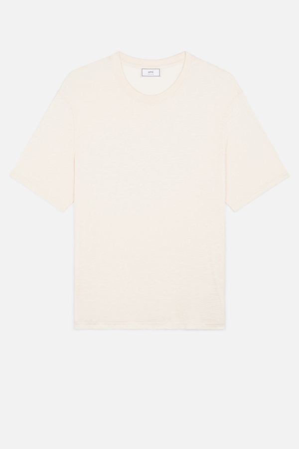 Ami Alexandre Mattiussi T Shirt In Ligth Jersey With Tab On Side In Off White
