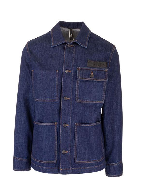 Hogan Men's Blue Cotton Jacket