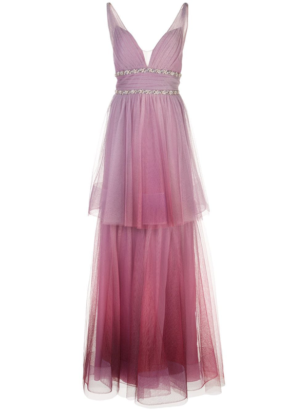 Marchesa Notte Ombré Two-tiered V-neck Dress In Purple