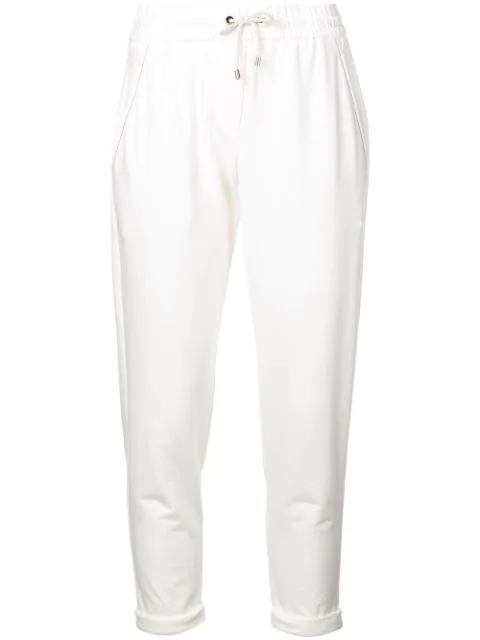 Brunello Cucinelli Bead-embellished Cotton-blend Jersey Track Pants In White