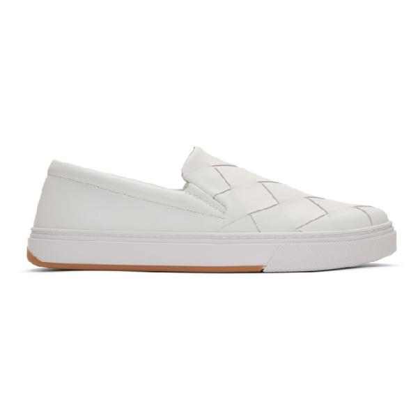 Bottega Veneta Dodger Intrecciato-woven Leather Skate Shoes In 9000 White