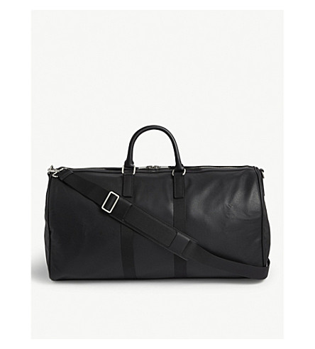 Sandro Grained Leather Holdall In Black