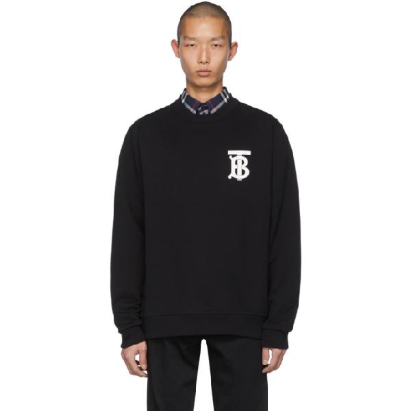 Burberry Tb Logo Print Cotton Jersey Sweatshirt In Black
