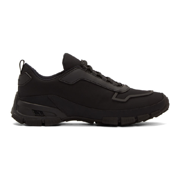 Prada Cross Action Rubber-trimmed Nylon Sneakers In Nero