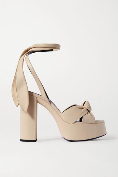Saint Laurent Bianca Knotted Leather Platform Sandals In Cream