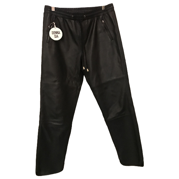 Donna Ida Black Leather Trousers