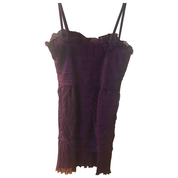 Luisa Beccaria Burgundy Silk Dress