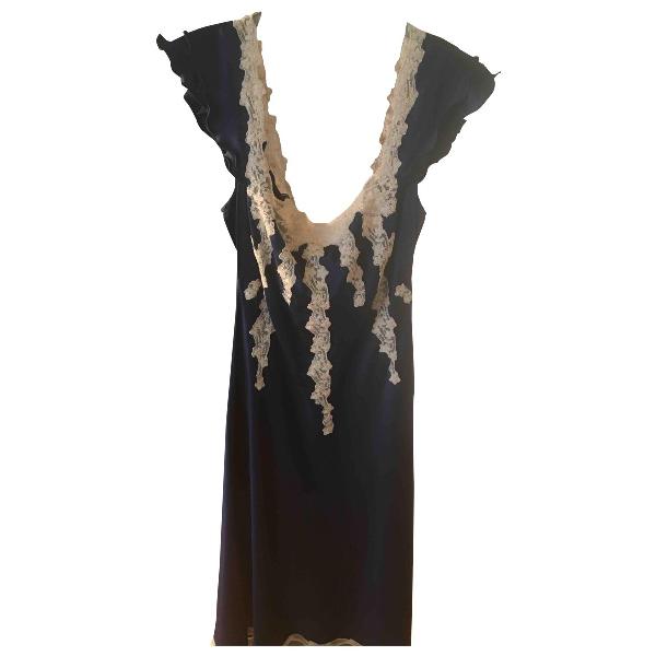 Luisa Beccaria Blue Silk Dress