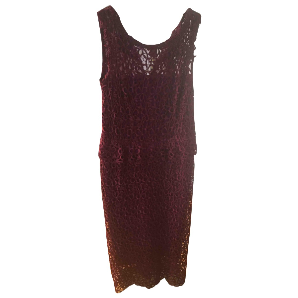 Luisa Beccaria Burgundy Lace Dress