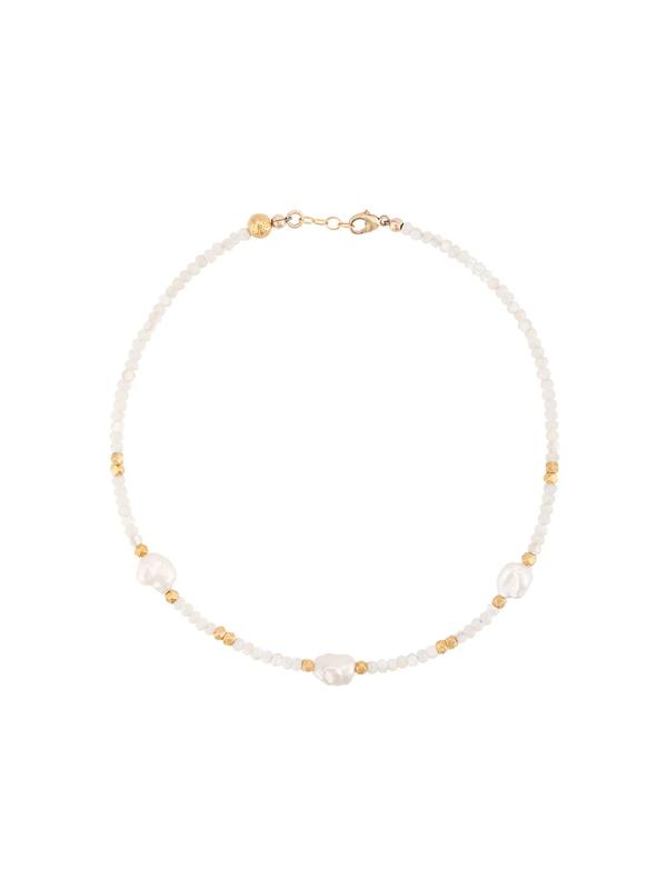 Nialaya Jewelry Beaded Pearl Choker In White