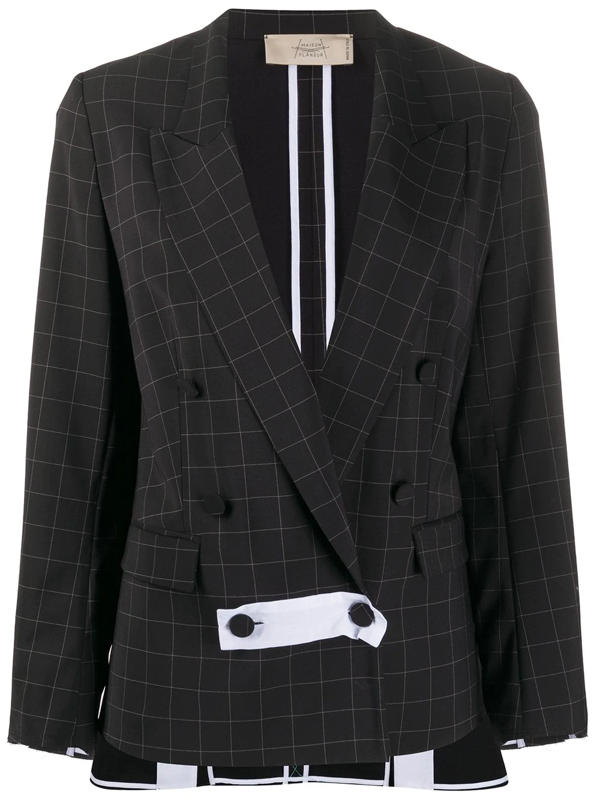Maison Flaneur Check-print Double Breasted Blazer In Black