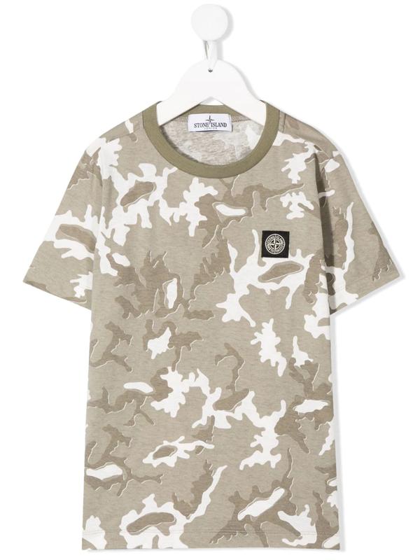 Stone Island Junior Kids' Short Sleeve Camouflage Print T-shirt In Neutrals
