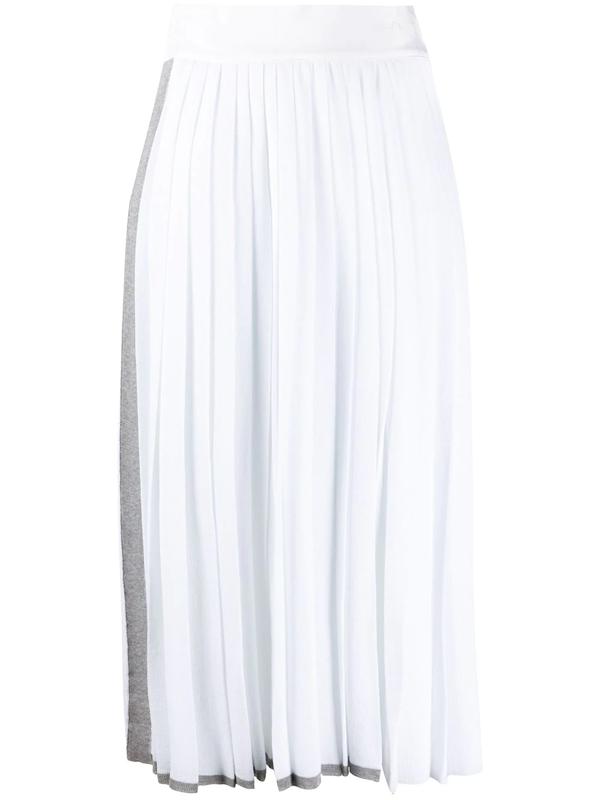 Maison Flaneur Side Stripe Detail Pleated Skirt In White