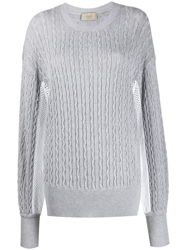 Maison Flaneur Patterned Knit Mesh Detail Jumper In Grey