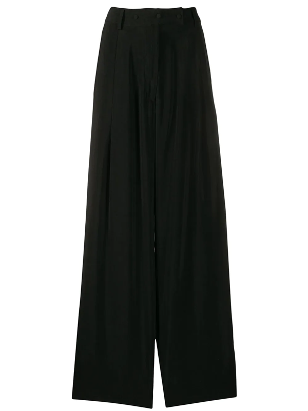 Maison Flaneur High-rise Flared Trousers In Black