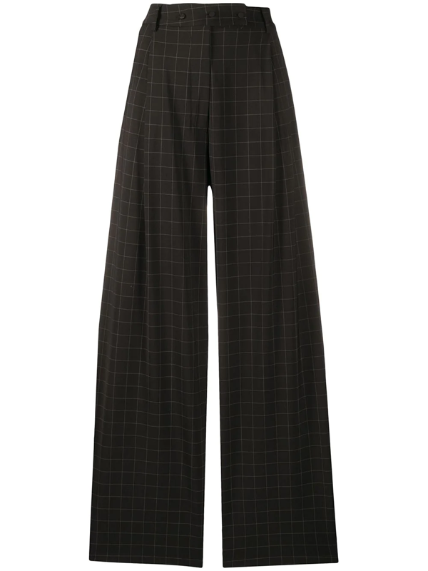 Maison Flaneur Check-print Flared Trousers In Black