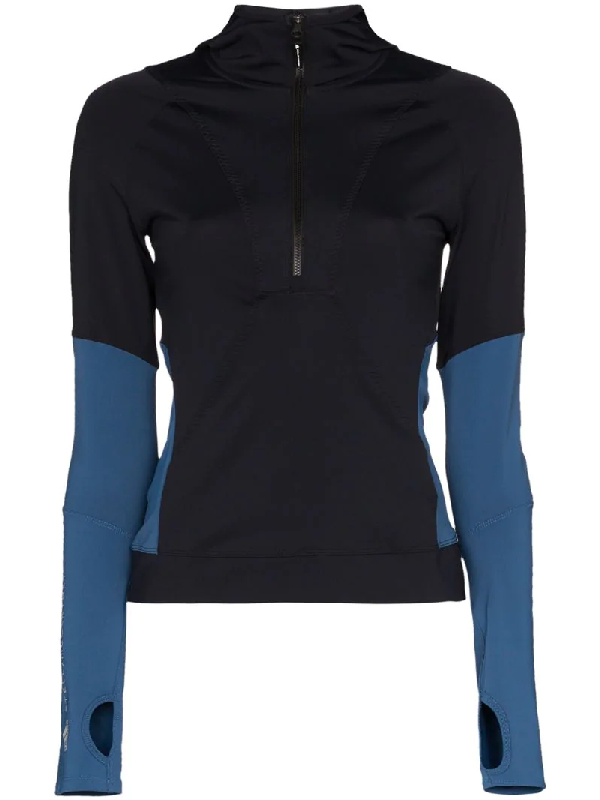 Adidas Originals Adidas By Stella Mccartney Contrast Panel Sports Top In Black