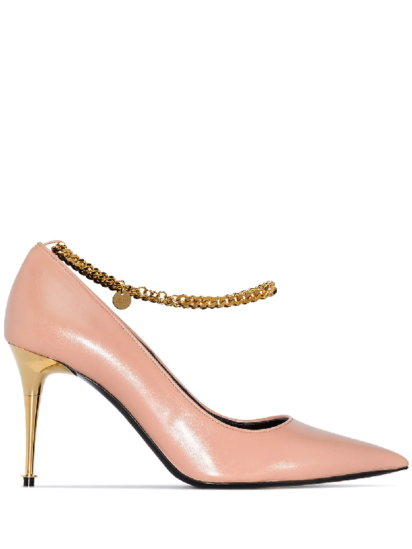 Tom Ford Pink 85 Metallic Chain Leather Pumps In Neutrals