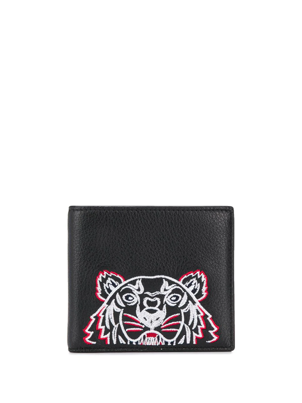 Kenzo Tiger-embroidered Bi-fold Wallet In Black