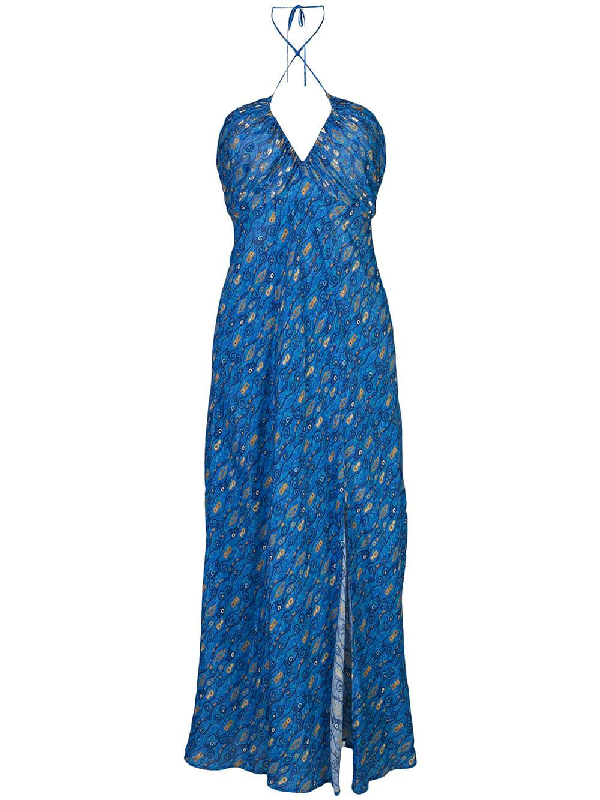 Rixo London Caroline Lurex Silk Fil CoupÉ Midi Dress In Blue