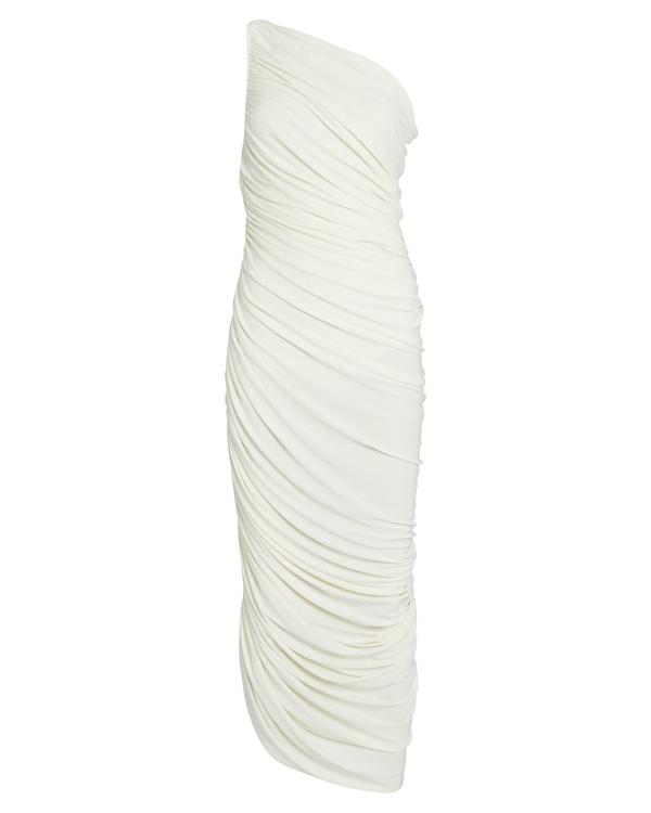 Norma Kamali Diana One Shoulder Shirred Dress In White