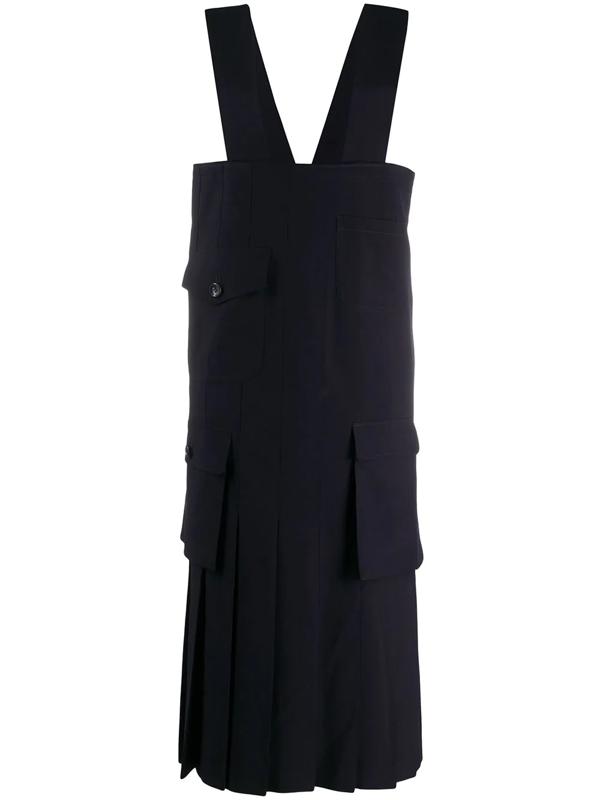 Comme Des Garçons Comme Des Garçons Patch-pocket Pinafore Dress In Blue