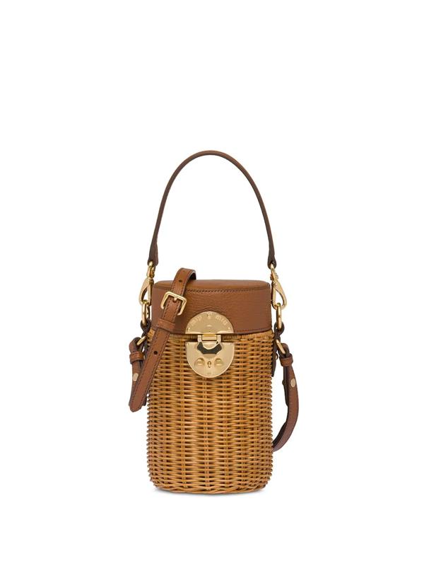Miu Miu Women's Midollino Mini Leather & Wicker Bucket Bag In Neutrals