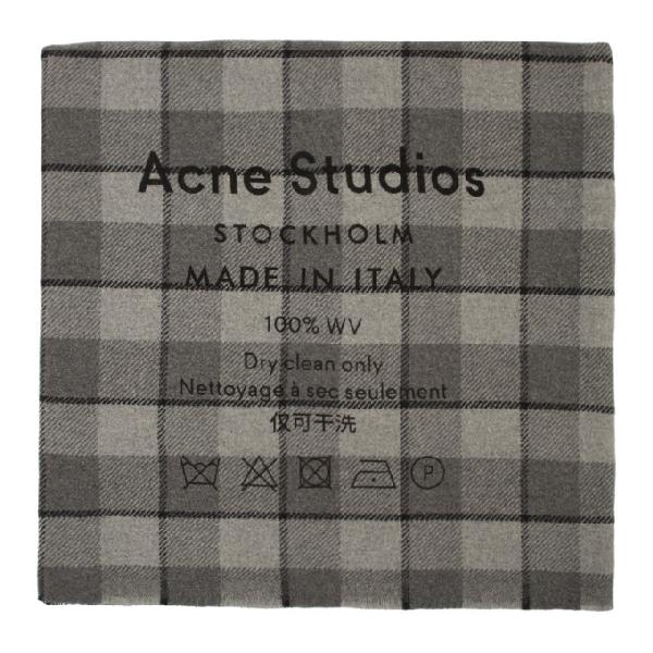 Acne Studios Cassiar Logo-print Checked Virgin Wool Scarf In Grey/black