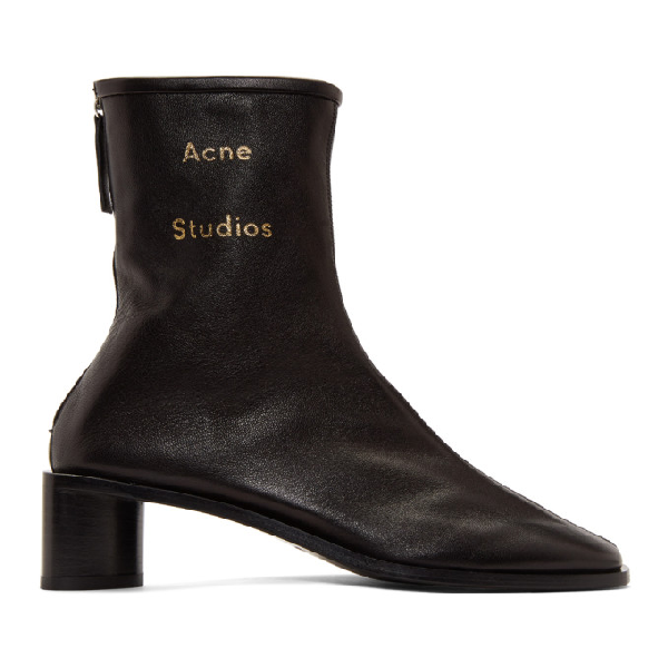 Acne Studios Bertine Square-toe Leather Ankle Boots In Black/blk