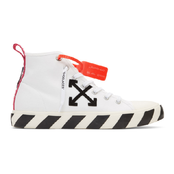 Off-white Diag Vulcanised White Canvas Hi-top Sneakers In White/black