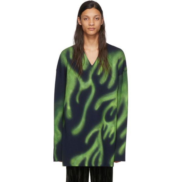Balenciaga Flame Print Oversize V-neck Wool Blend Sweater In 3258 Nvygrn