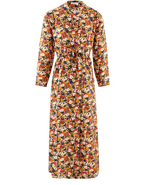 Roseanna Floral Print Long Sleeve Silk Faux Wrap Midi Dress In Orange