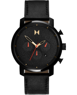Mvmt Men's Chronograph Caviar Black Leather Strap Watch 45mm