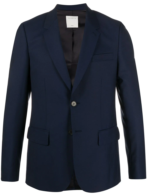 Sandro Fine Knit Tailored Suit Jacket In Blue