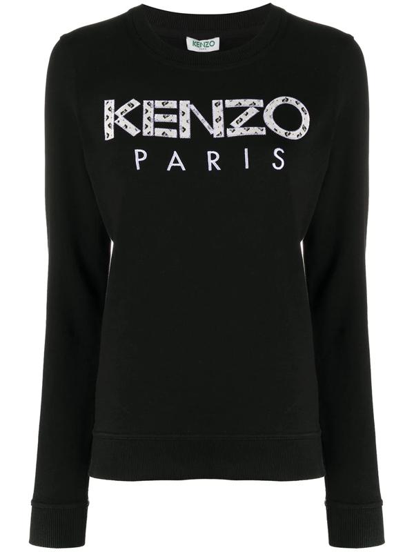 Kenzo Ikat Logo Patch Sweatshirt In Black