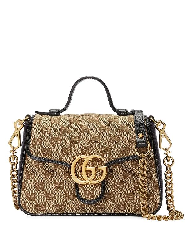 Gucci Mini Gg Marmont Original Gg Bag In Brown