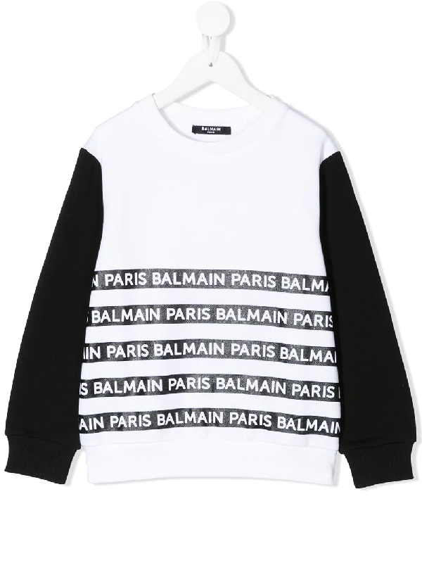 Balmain Kids' Logo Stripe Printed Cotton Sweatshirt In White